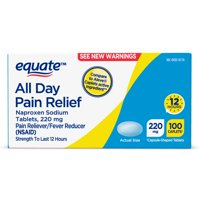 Equate All Day Pain Relief, Naproxen Sodium Tablets, 220 mg 100 Ct