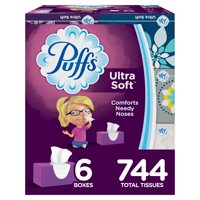 Puffs Ultra Soft Non-lotion Facial Tissues, 6 Family Boxes, 124 Tissues per Box