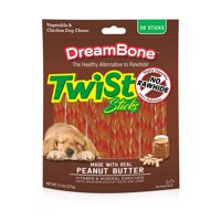 DreamBone Twist Sticks with Peanut Butter Rawhide-Free Dog Chews, 9.7 Oz. (50 Count)