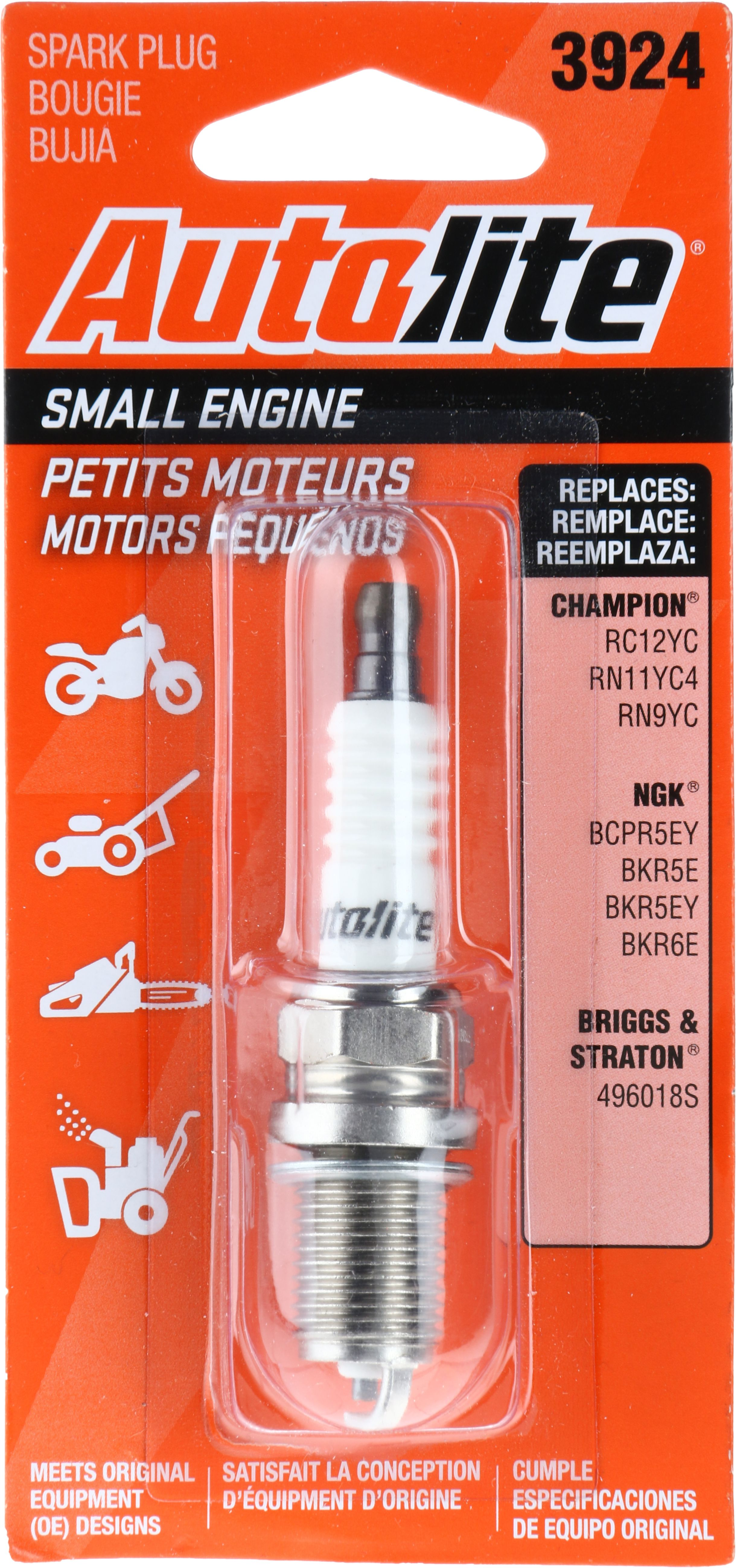Autolite Small Engine Spark Plug, 3924 for Select Briggs & Stratton and Kohler Engine Power Equipment and Lawn Mowers