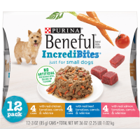 (12 Pack) Purina Beneful Small Breed Wet Dog Food Variety Pack, IncrediBites, 3 oz. Cans