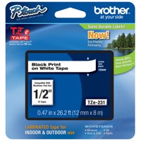 Brother P-touch TZe231 (TZe-231), 1/2' (0.47') Black on White Standard Laminated Label Tape - 26.2 ft. (8m)