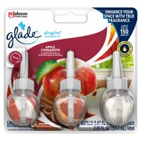 Glade PlugIns Scented Oil Refill Apple Cinnamon, Essential Oil Infused Wall Plug In, 2.01 FL OZ, Pack of 3