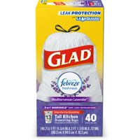 Glad Tall Kitchen Drawstring Trash Bags - OdorShield 13 gal White Trash Bag, Febreze Mediterranean Lavender - 40 ct