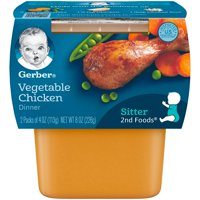 Gerber 2nd Foods Nutritious Dinners Vegetable Chicken Baby Food, 4 Oz. Tubs, 2 Count