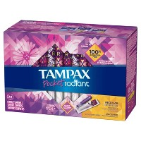 Tampax Pocket Radiant Regular Absorbency Unscented Compact Plastic Tampons - 28ct