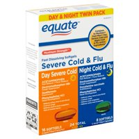 Equate Maximum Strength Daytime Severe Cold & Nighttime Cold & Flu Soft gels, 2 Pack, 24 Count