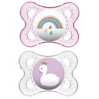 MAM Pacifiers, Baby Pacifier 0-6 Months, Best Pacifier for Breastfed Babies, 'Clear' Design Collection, Girl, 2-Count