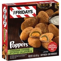 TGI Fridays Cheddar Cheese Stuffed Jalapeno Poppers with Cilantro Lime Ranch Dip, Frozen Appetizer, 15 oz Box