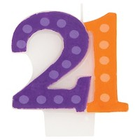 Bright And Bold 21st Birthday Candle