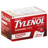 Tylenol Acetaminophen, Extra Strength, 500 mg, Coated Tablets
