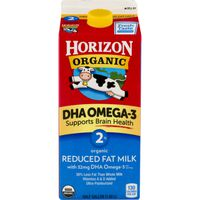 Horizon Organic Organic 2% Reduced Fat Milk DHA Omega-3