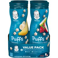 (4 Canisters) Gerber Puffs Banana/Strawberry Apple Cereal Snack Variety Pack, 1.48 oz.