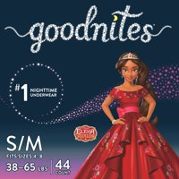 GoodNites Bedtime Bedwetting Underwear For Girls, Size S/M, 44 Count