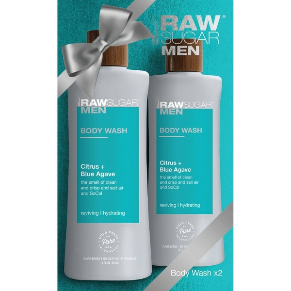 Raw Sugar Men's 2-Pack Body Wash Citrus + Blue Agave - 2ct