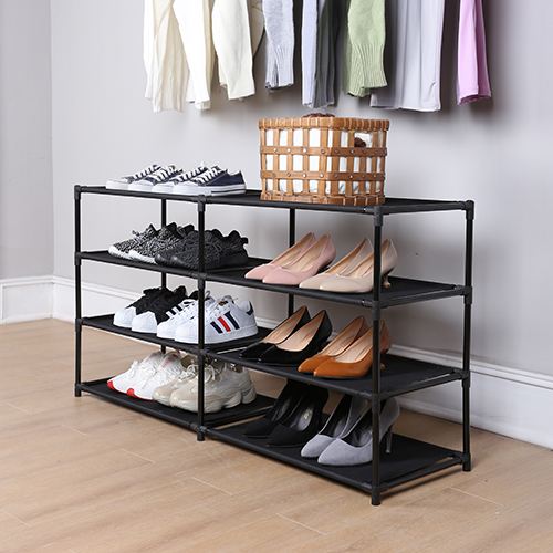 Mainstays 4 Tier Adjustable Shoe and Boot Rack, Rich Black