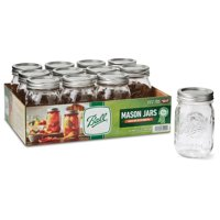 Ball, Glass Mason Jar with Lid & Band, Regular Mouth, 16 oz, 12 Count