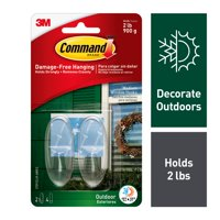 Command Outdoor Clear Window Hooks, Medium, 2 Hooks, 4 Strips/Pack