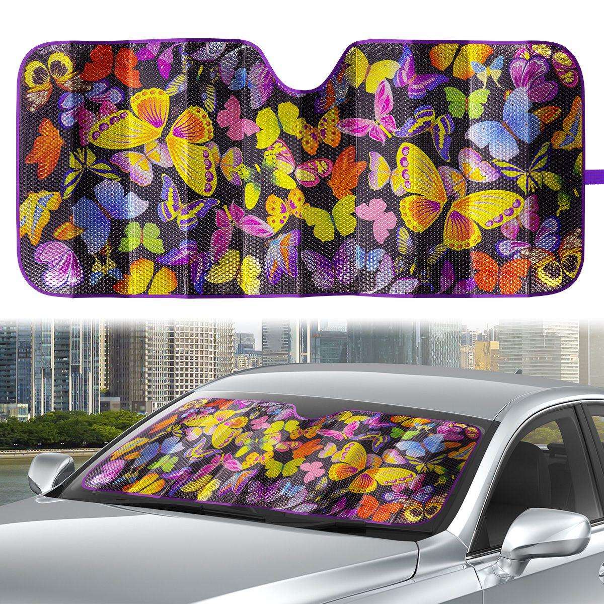 Auto Drive 1 Count Universal Purple Butterfly Accordion Sun Shade Product Size 63'' x 28.5''
