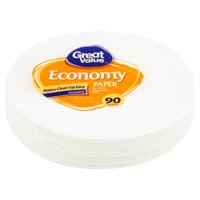 """Great Value Uncoated Paper Plates, 9"""", 90 Count"""