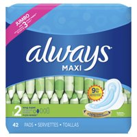 Always Maxi Super Absorbency Pads with Wings, Unscented, Size 2, 42 Ct