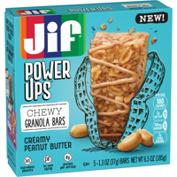 Jif Power Ups Creamy Peanut Butter Chewy Granola Bars, 6.5-Ounce, 5 Count