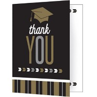 8ct Silver And Gold Glitz Graduation Thank You Notes