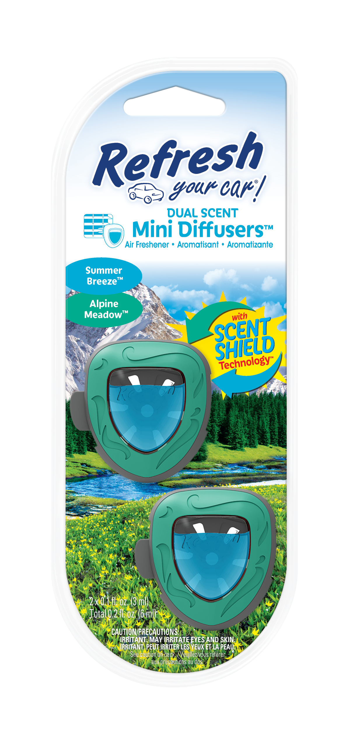 Refresh Your Car! Air Freshener, Alpine Meadow / Summer Breeze, 2 Pack