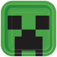 Square Minecraft Paper Plates, 9 in, 8ct