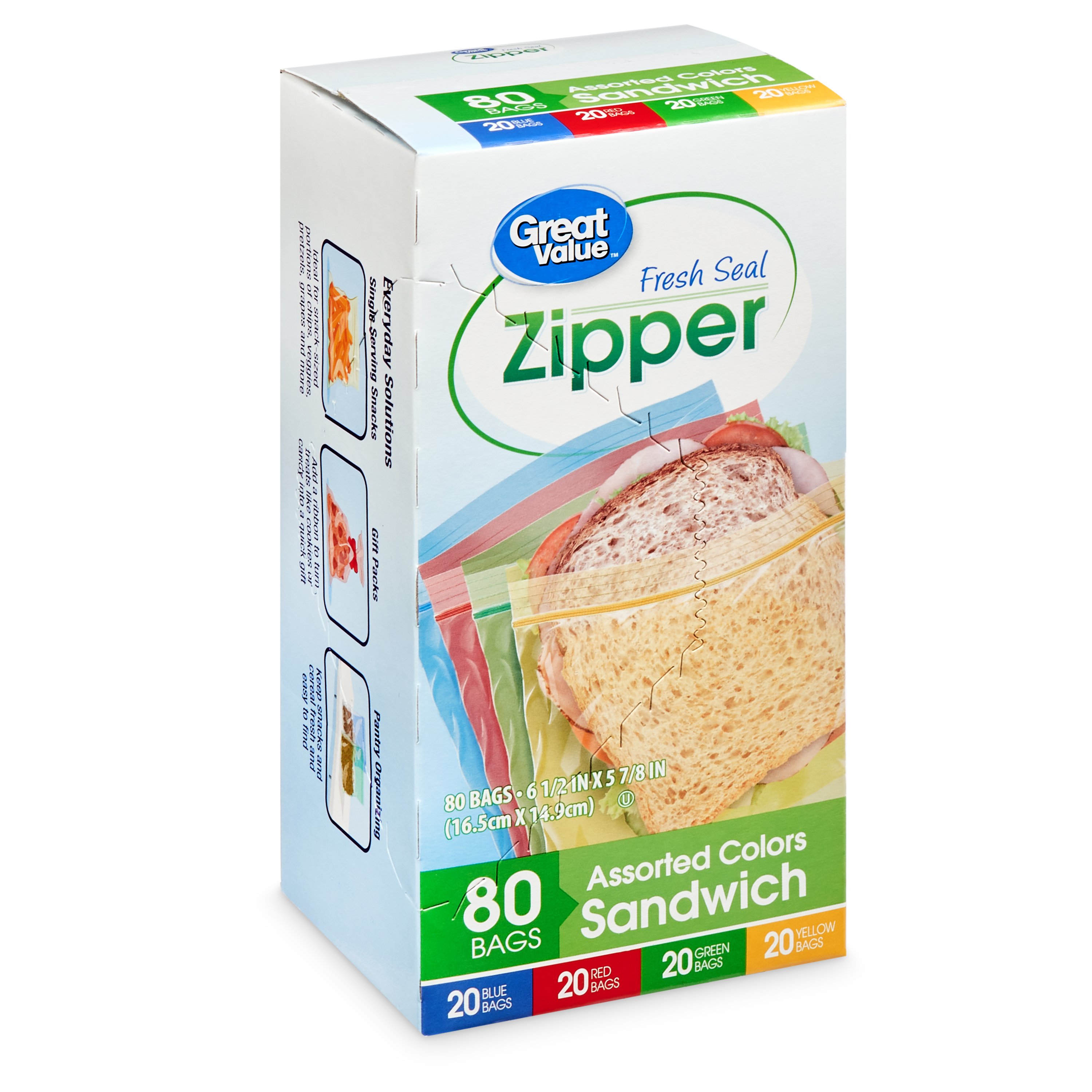 Great Value Fresh Seal Zipper Sandwich Bags, 80 Count, Assorted Colors