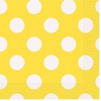 50ct Yellow & White Polka Dot Cocktail Beverage Napkin