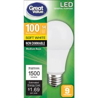 Great Value LED Light Bulb, 14W (100W Equivalent) A19 General Purpose Lamp E26 Medium Base, Non-dimmable, Soft White, 1-Pack