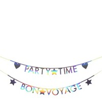Meri Meri - Holographic Silver Letter Garland Kit - Party Decorations and Accessories - 1ct