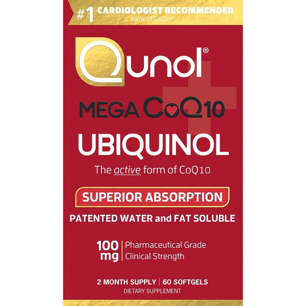 Qunol Mega CoQ10 Natural Ubiquinol Dietary Supplement Softgels - 60ct