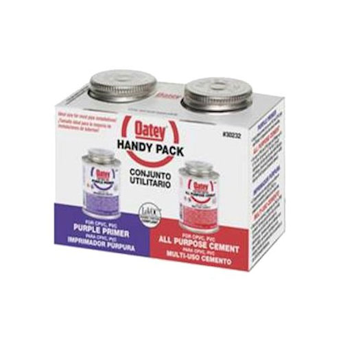 Oatey 4 oz. All-Purpose ABS, PVC and CPVC Clear Cement and Purple Primer Handy Pack