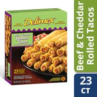 Delimex Beef & Cheddar Rolled Tacos, Frozen Appetizer, 23 ct - 23.0 oz Box