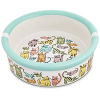 "Harmony 1.75"" H X 5"" Diameter Cat Town Ceramic Cat Bowl"