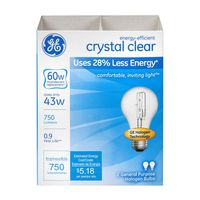 General Electric Crystal Clear Halogen Light Bulbs 60W