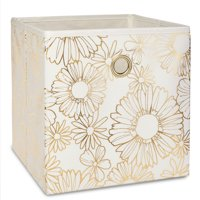 """Mainstays Collapsible Fabric Cube Storage Bin (10.5"""" x 10.5"""") - Floral Gold"""