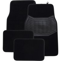 Auto Drive 4PC Carpet Floor Mats Heavy Duty Black - Luxury All Weather Protection