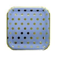 Square Foil Polka Dot Paper Plates, 7 in, Blue and Gold, 10ct