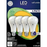 GE LED 12W Soft White, General Purpose A21 Medium Base, Dimmable, 4pk Light Bulbs