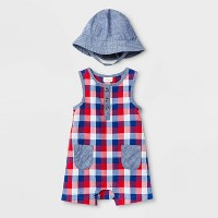 Baby Boys' Woven Plaid Rompers with Hat - Cat & Jack™ Navy