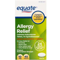 Equate All Day Allergy, Cetirizine Hydrochloride Tablets, 10 mg, Antihistamine, 45 Count