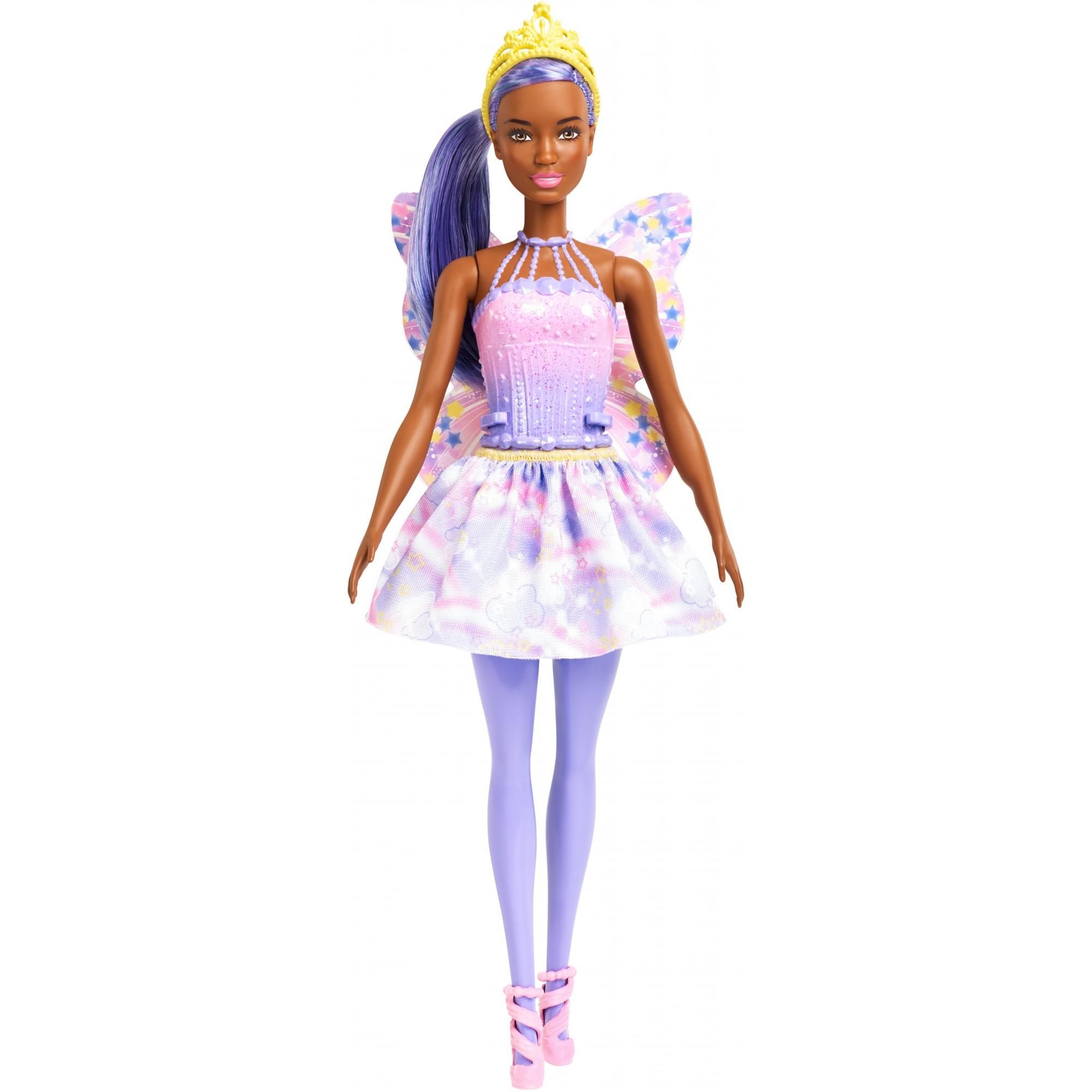 Barbie Dreamtopia Fairy Doll, Purple Hair & Star-Decorated Wings