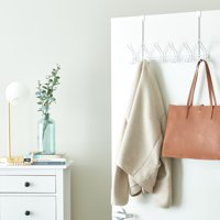 Mainstays Classico Over-The-Door Rack with 6-Hooks, Arctic White, Metal