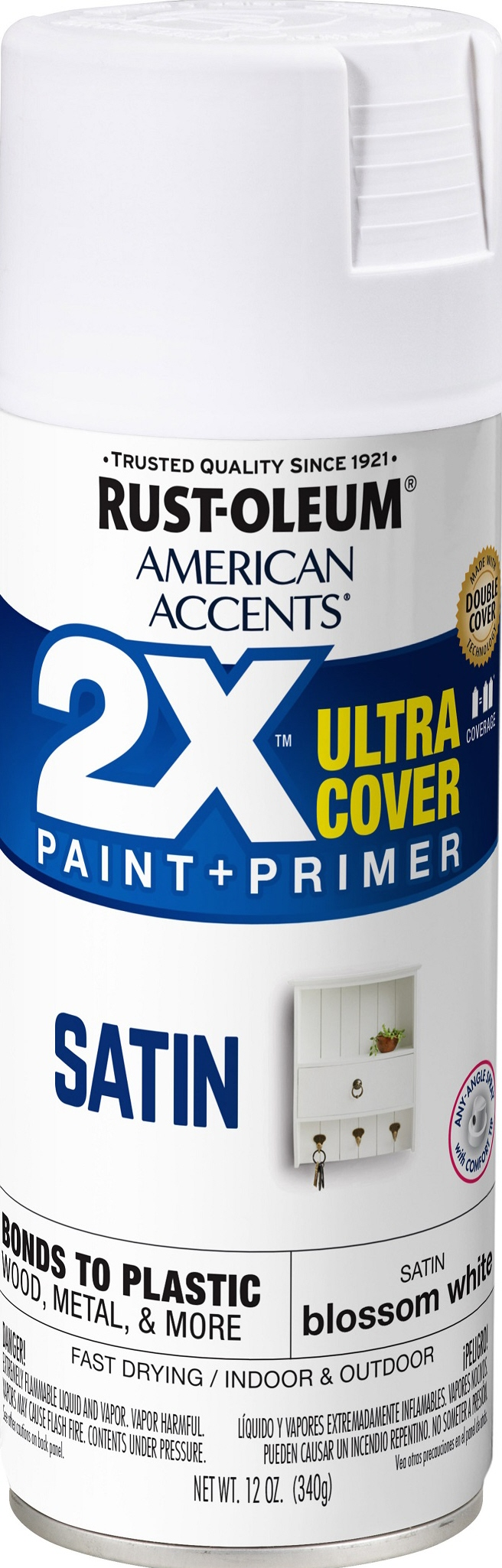 (3 Pack) Rust-Oleum American Accents Ultra Cover 2X Satin Blossom White Spray Paint and Primer in 1, 12 oz