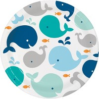 24ct Baby Whale Paper Plates Blue