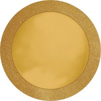 Round Gold Placemats with Glitter Border, 8 pk