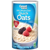 Great Value 100% Whole Grain Quick Oats, 18 oz
